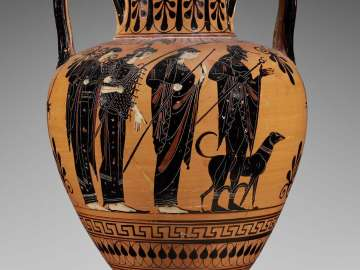 Two-handled jar (amphora) depicting the Judgment of Paris and the recovery of Helen