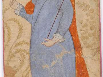 Young Man Standing in Blue Gown
