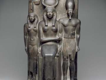 King Menkaura, the goddess Hathor, and the deified Hare nome