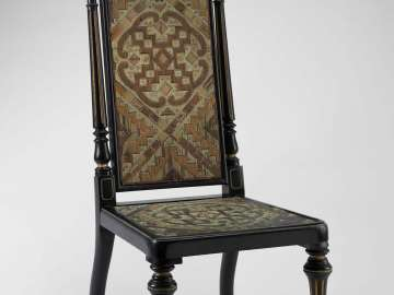 Side chair with porcupine quillwork panels