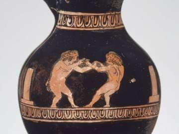 Miniature wine jug (chous) depicting two boys boxing