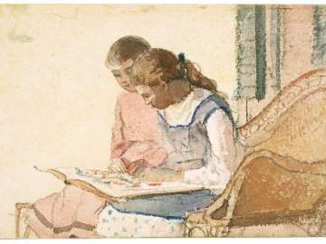 Two Girls Looking at a Book
