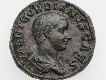 Sestertius with bust of Gordian III, struck under Balbinus and Pupienus