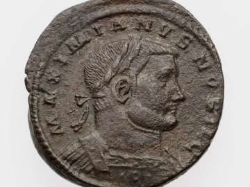 Follis with bust of Galerius, struck under Diocletian and Maximian I Herculius