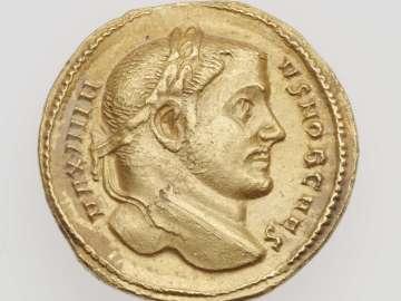 Aureus with head of Maximinus II Daia, struck under Galerius and Severus II