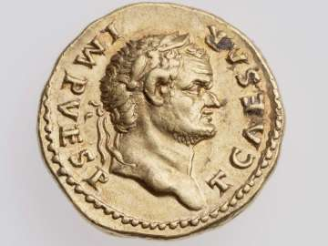 Aureus with head of Titus, struck under Vespasian