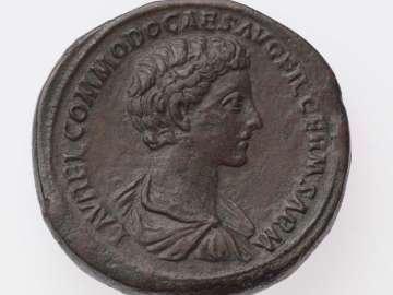 Sestertius with bust of Commodus, struck under Marcus Aurelius