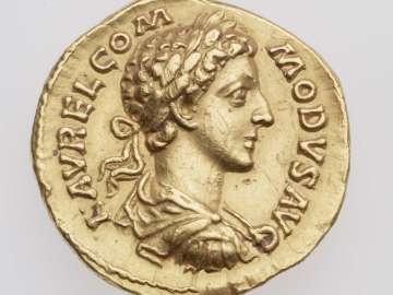Aureus with bust of Commodus, struck under Marcus Aurelius