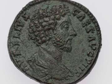 Sestertius with bust of Marcus Aurelius, struck under Antoninus Pius