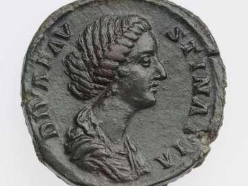 Sestertius with bust of Diva Faustina II, struck under Marcus Aurelius