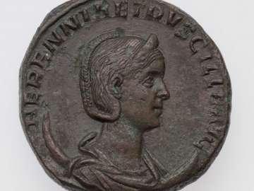 Double-sestertius with bust of Herennia Etruscilla, struck under Trajan II Decius