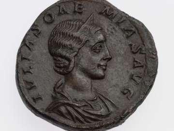 Sestertius with bust of Julia Soaemias, struck under Elagabalus