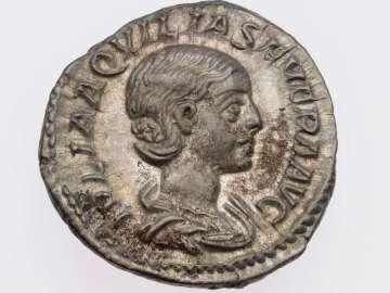 Denarius with bust of Aquilia Severa, struck under Elagabalus