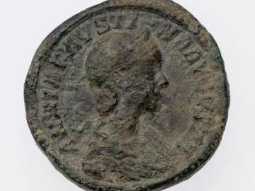 Sestertius with bust of Annia Faustina, struck under Elagabalus