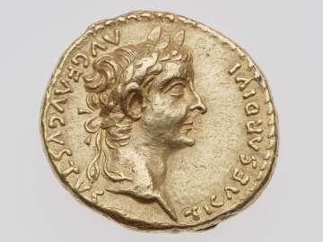 Aureus with head of Tiberius