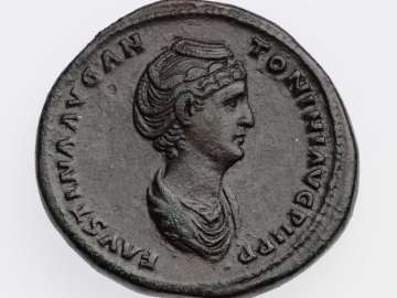 Sestertius with bust of Faustina I, struck under Antoninus Pius