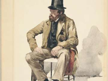 Bearded Man in Tall Hat and Long Coat