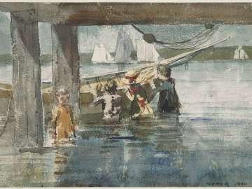 Children Playing under a Gloucester Wharf