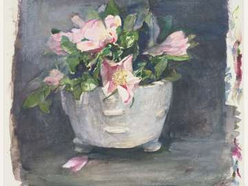 Wild Roses in an Antique Chinese Bowl