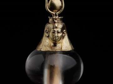 Hathor-headed crystal pendant