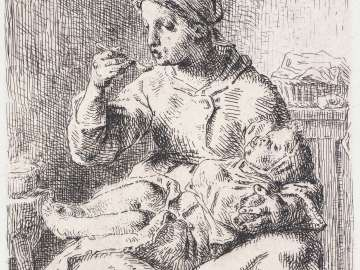 Woman Feeding a Child