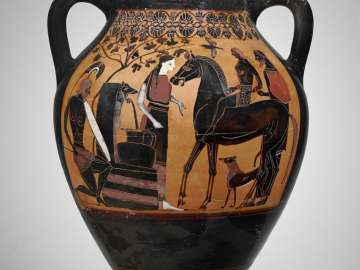 Two-handled jar (amphora) depicting Achilles ambushing Troilos
