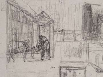 Perspective Studies (recto); Man Seated on a Bale of Grain. Study for Harvesters Resting (verso)