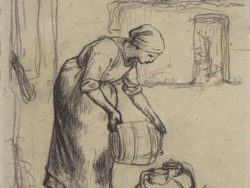 Study for Woman Pouring Water into Milk Cans