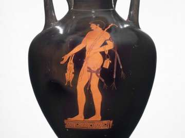 Two-handled jar (amphora) depicting a victor in an athletic contest