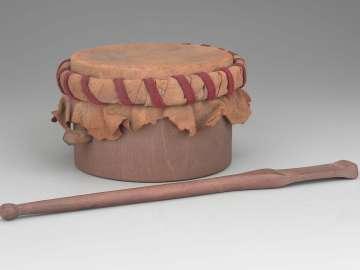 Frame drum and mallet (ka'nohko'wah, after 19th-century Seneca people type)