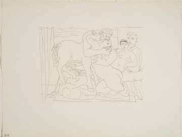 Sculptor Reclining Before Centaur and Woman