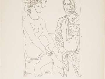Seated Woman with Hat and Standing Woman Draped