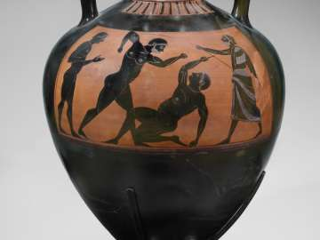 Pseudo-Panathenaic vase (amphora) depicting a pankration match