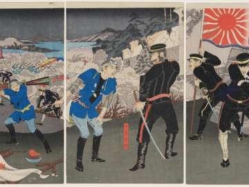 Our Troops Occupy the Fortress at Huangjinshan in the Battle of Lüshunkou [=the Battle of Port Arthur] (Wagahei Ryojunkô Ôgonzan hôrui senryô)
