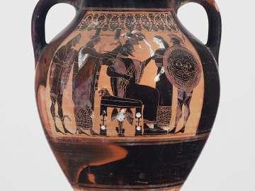 Two-handled jar (amphora) depicting the birth of Athena