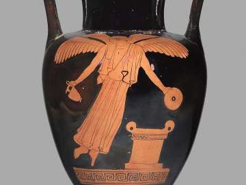 Two-handled jar (amphora) depicting Nike at an altar