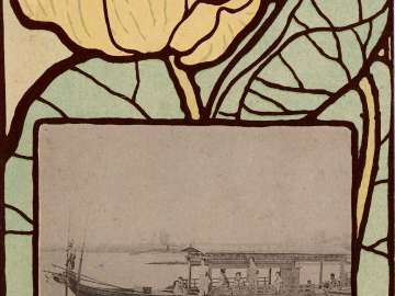 Vignette of Pleasure Boat  on the Yodo River from the series The Twelve Months of Famous Places