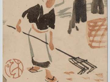 Commemorative Postcard of the Mokugo Association Convention with Illustration of a Woman Raking