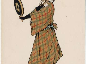 Vagrant with Japanese Flags and Drum on his Head (from an unidentified series)