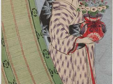 Woman with Flower Vase next to Bamboo Shade from Jogaku sekai