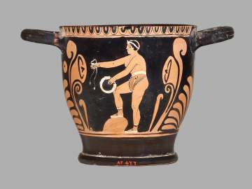 Drinking cup (skyphos) showing an athlete with a wreath