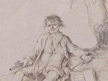 Seated Man with a Gun and a Knife  (noose hanging from tree above)