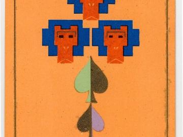 New Year's Card: Three Monkeys with Spade Shape Motifs