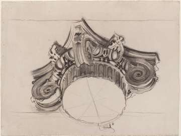 Sketch for Gog and Magog - Ionic Capital - Boston Public Library Murals