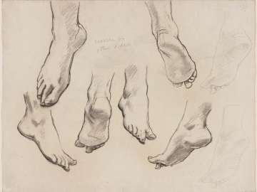 Double-sided Drawing for Boston Public Library Murals a.(Recto): Sketch for Heaven - Feet b.(Verso): Sketch for Heaven - Feet