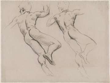 Sketch for Heaven - Figure Right Rear - Boston Public Library Murals
