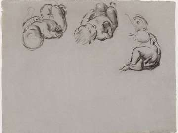 Sketch for the Joyful Mysteries, The Nativity - Three Studies of an Infant - Boston Public Library Murals