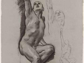 Sketch for the Joyful Mysteries - Seated Man, Reaching Upward - Boston Public Library Murals