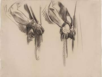Sketch for the Sorrowful Mysteries - Hands Tied with Rope - Boston Public Library Murals