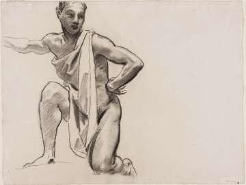 Sketch for Cartouche over Ganymede - Youth Kneeling - (MFA Rotunda)